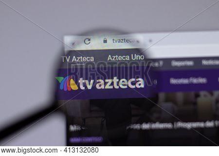 New York, Usa - 18 March 2021: Tv Azteca Company Logo Icon On Website, Illustrative Editorial