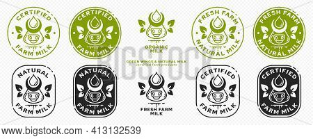Concept For Product Packaging. Labeling - Natural Farm Milk. Cow Icon With Milk Drop And Leaf-ears O