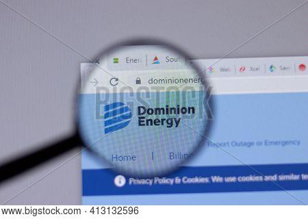 New York, Usa - 18 March 2021: Dominion Energy Company Logo Icon On Website, Illustrative Editorial