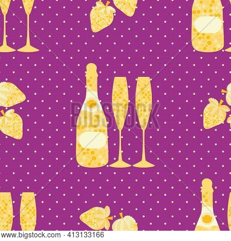 Champagne And Strawberry Vector Seamless Pattern Background. Elegant Gold Purple Backdrop With Fizz,