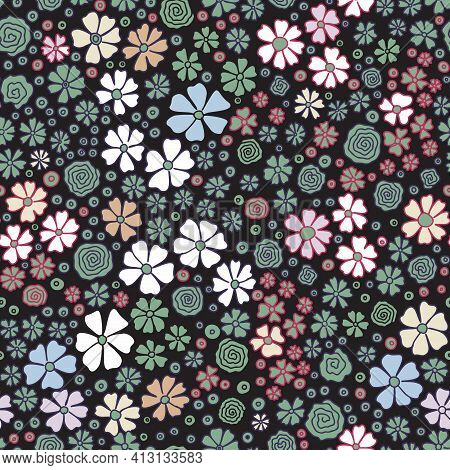Simple Cute Pattern In Small Flower. Liberty Style. Meadow Floral Seamless Background For Textile Or