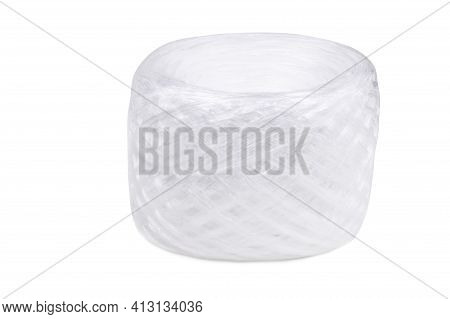 White Polypropylene Twine Isolated On A White Background, Skein Of Polypropylene Twine.