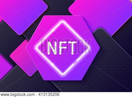 Nft Non-fungible Token Concept On Paper Cut Abstract Background. Layered Black And Purple Shapes Wit