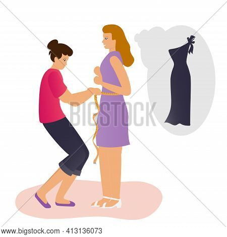 The Client Wants To Order A New Dress. The Seamstress Takes Measurements Using A Cloth Tape Measure.