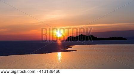 Sunrise Over The Lake Baikal. Early Morning Landscape.