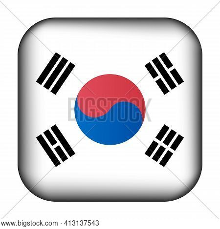 Glass Light Ball With Flag Of Korea. Squared Template Icon. Korean National Symbol. Glossy Realistic
