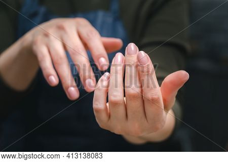 Well-groomed Female Hands With Beautiful Pink Manicure, Close-up