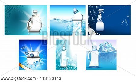 Detergent, Bleach Advertising Banners Set Vector Illustration