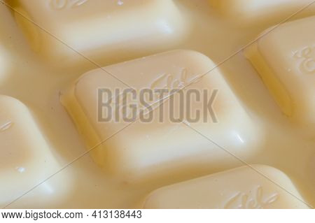 Pruszcz Gdanski, Poland - March 18, 2021: E. Wedel Logo On White Chocolate.