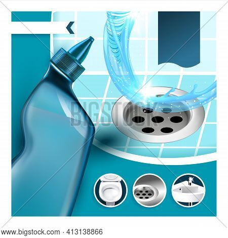 Drain Cleaner Kills Germs Promo Poster Vector