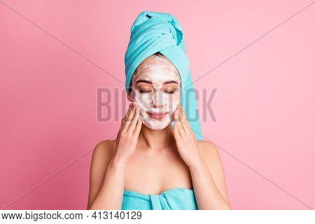 Photo Of Young Girl Enjoy Cosmetology Treatment Apply Cleansing Gel Nourishing Isolated Over Pink Co