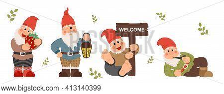 Fairy Tale Fantastic Gnome Dwarf Elf Character Poses. Garden Gnome Cartoon Set Of Fun Illustrations