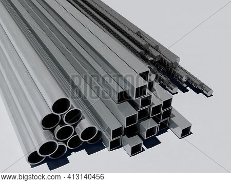 Metal fittings on a white background.,3D render
