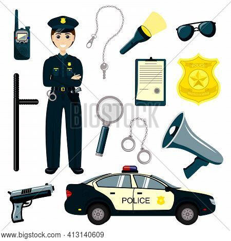 Stickman Kids Police Officer. Gun, Radio And Police Badge, Child Character Play Security Or Policema
