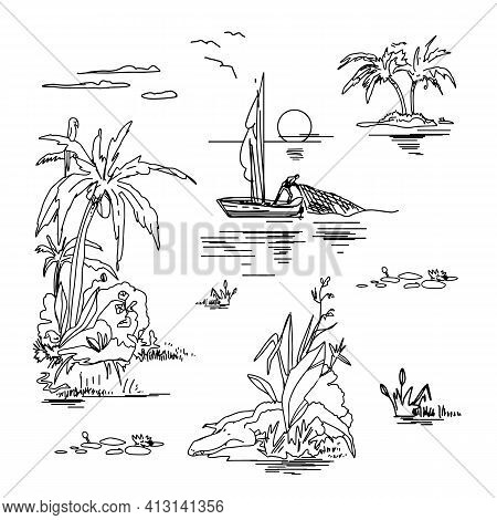 Beautiful Island Sketches Set On White Background. Landscape With Palm Trees, Beach, Sea, Sun, Cloud
