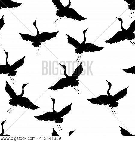 Hand Drawn Crane Bird Silhouette Pattern Seamless, Graphic Illustration Bird Vector