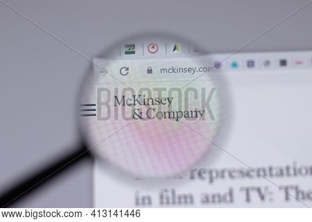 New York, Usa - 18 March 2021: Mckinsey Company Logo Icon On Website, Illustrative Editorial