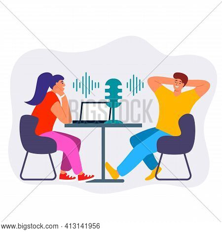 Female Podcaster Person Radio Host Interviewing Male Guest Mass Media Broadcasting Isolated On White