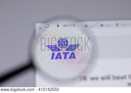 New York, Usa - 18 March 2021: Iata Company Logo Icon On Website, Illustrative Editorial