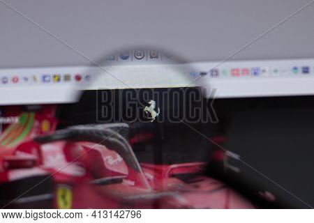New York, Usa - 18 March 2021: Ferrari Company Logo Icon On Website, Illustrative Editorial