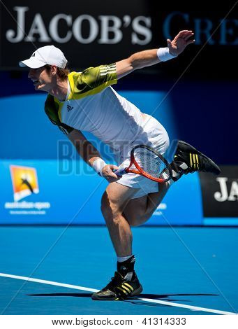 MELBOURNE - JANUARY 17: Andy Murray of Scotland in his second round win over Joao Sousa  of Portugal at the 2013 Australian Open on January 17, 2013 in Melbourne, Australia.