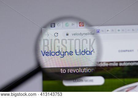 New York, Usa - 18 March 2021: Velodyne Lidar Company Logo Icon On Website, Illustrative Editorial