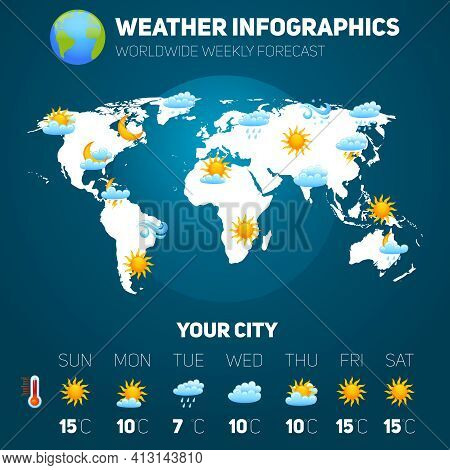 Weather Forecast Infographic Set With Meteorology Signs And World Map Vector Illustration