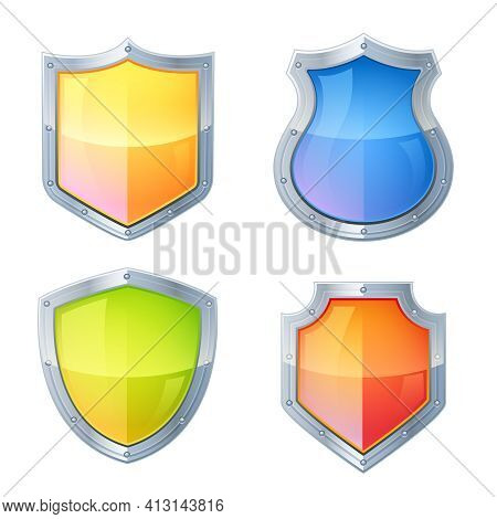 Guardian Vintage Glowing Shields Decorative Icons Set Isolated Vector Illustration