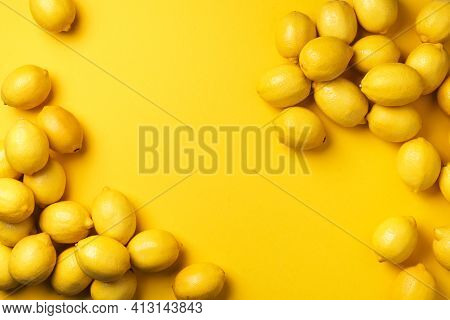 Lemons Frame On Yellow Background. Immune System Booster. Copy Space. Top View. Flat Lay. Citrus Fru