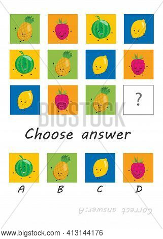 Logic Game For Kids, Activity To Children, Task For The Development Of Logical Thinking And Mind, Cu