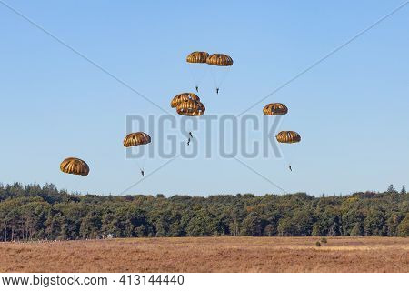 Paratroopers Jump From Airplane In The Netherlands