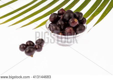 The Amazon Acai Fruit (euterpe Oleracea); Photo On White Background.