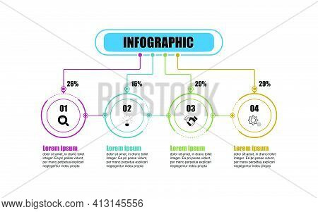 Presentation Business Infographic Template With 4 Options. Infographic Vector Design Circle Template