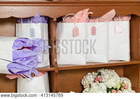 Reception Hall, Corner Of The Room Decorated With Gifts For Party Guests.