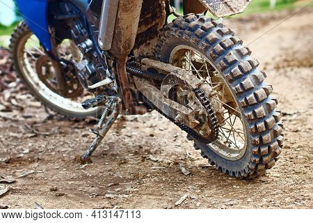 Offroad Mountain Motorcycle Or Bike Taking Part In Motocros Competition Parked On Dirty Terrain Road