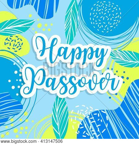 Jewish Holiday Passover Banner Design With Floral Decoration, Happy Passover Greeting Card. Vector I