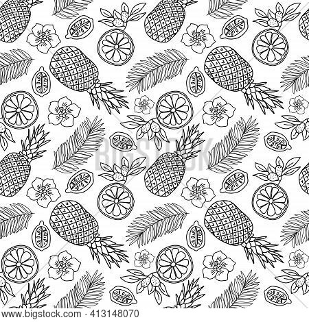 Tropical Fruits Doodle Seamless Pattern Vector Illustration