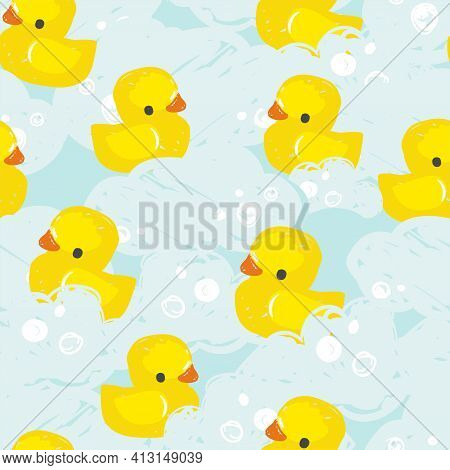 Hand Drawn Cute Rubber Yellow Duck Pattern Seamless Vector Illustration