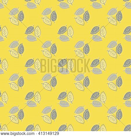 Elm Leaf Seamless Vector Pattern Background. Backdrop Of Groups Of Hand Drawn Yellow Grey Leaves Wit