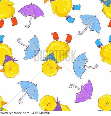 Hand Drawn Cute Yellow Duckling And Umbrella Vector Illustration Seamless Pattern Cute Little Duck B