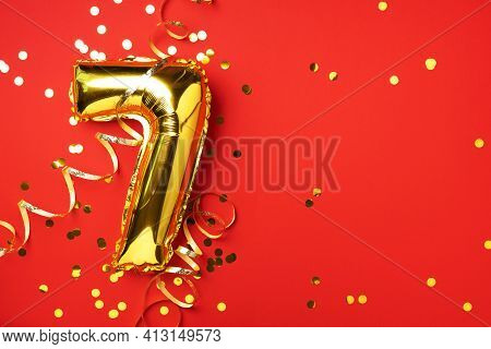 Gold Foil Balloon Number And Digit Seven 7. Birthday Greeting Card. Anniversary Celebration Event. B