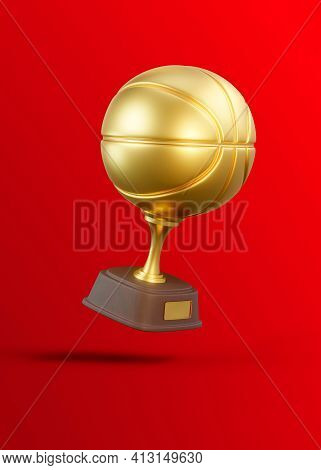 Flying Golden Basketball Trophy Cup On Red Background. Sport Tournament Award, Gold Winner Cup And V