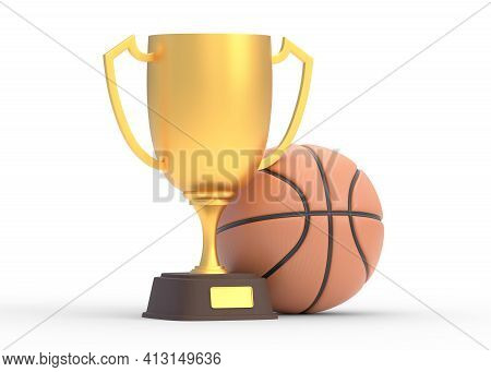 Golden Trophy Cup With Basketball Isolated On White Background. Sport Tournament Award, Gold Winner