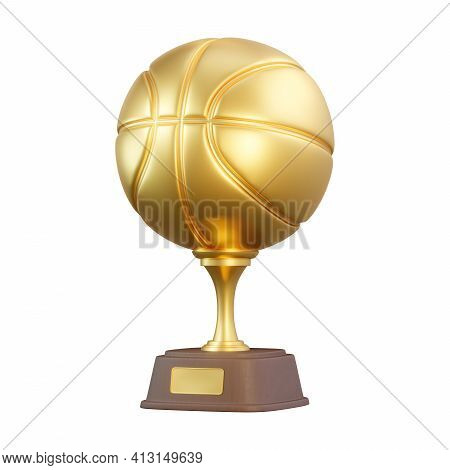Golden Basketball Trophy Cup Isolated On White Background. Sport Tournament Award, Gold Winner Cup A