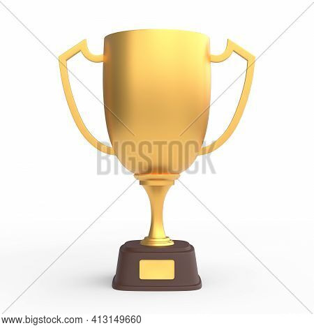 Trophy Cup Isolated On White Background. Sport Tournament Award, Gold Winner Cup And Victory Concept