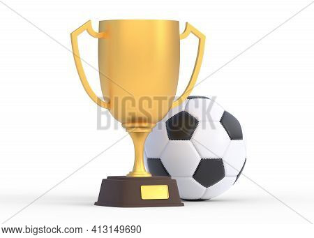 Golden Trophy Cup With Football Isolated On White Background. Sport Tournament Award, Gold Winner Cu