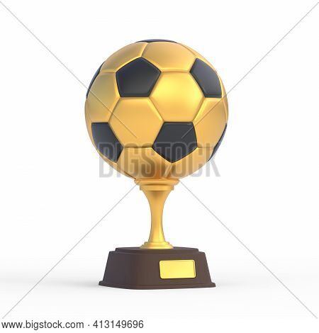 Football Trophy Cup Isolated On White Background. Sport Tournament Award, Gold Winner Cup And Victor