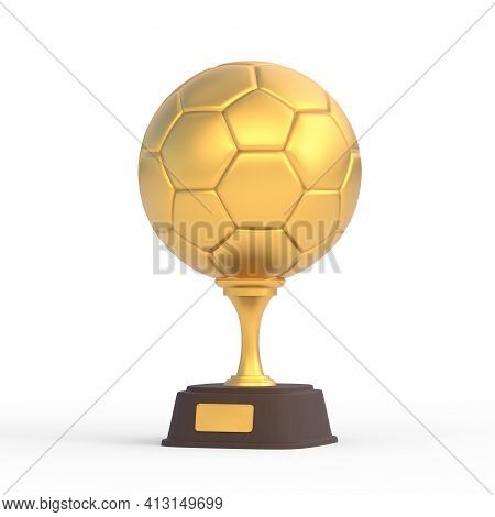Realistic Golden Football Trophy Cup Isolated On White Background. Sport Tournament Award, Gold Winn