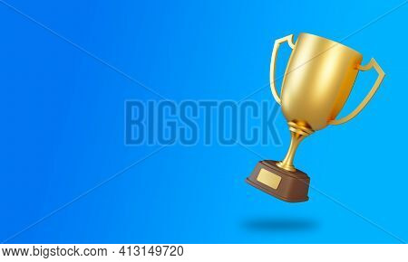 Trophy Cup On Blue Background. Sport Tournament Award, Gold Winner Cup And Victory Concept. 3d Rende