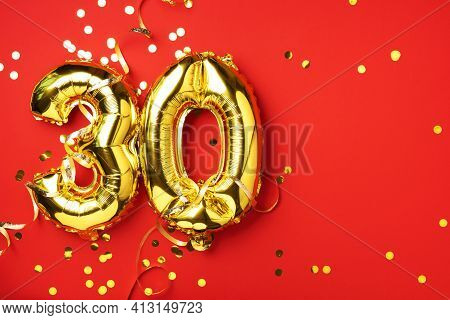 Gold Foil Balloon Number, Digit Thirty. Birthday Greeting Card With Inscription 30. Anniversary Cele